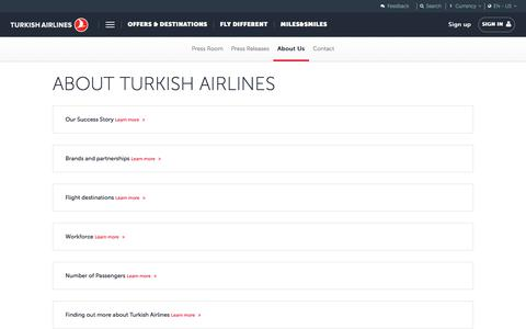 Screenshot of About Page turkishairlines.com - About Us | Press Room | Turkish Airlines ® - captured Sept. 21, 2018