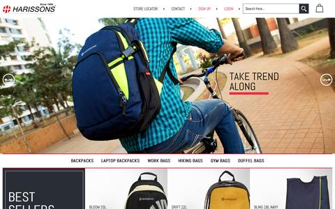 Screenshot of Home Page harissonsbags.com - Harissons: Bags to Carry Your Attitude | Backpacks, Travel Bags, Laptop Bags Online in India - captured July 19, 2015