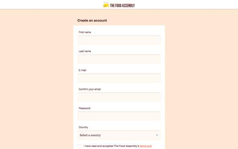 Screenshot of Signup Page thefoodassembly.com - The Food Assembly - captured Oct. 18, 2017
