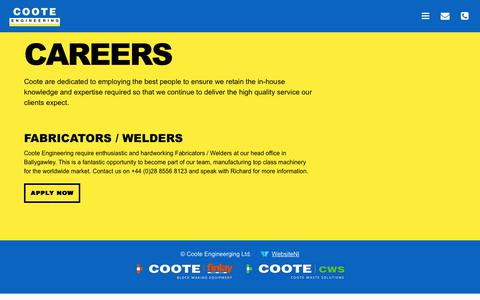 Screenshot of Jobs Page coote.co.uk - Careers Archives - Coote Engineering - captured Sept. 29, 2018