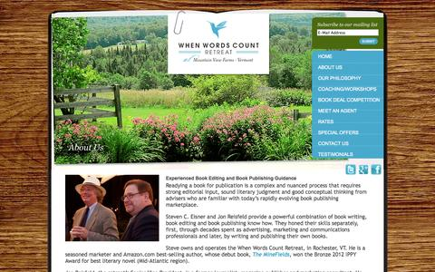 Screenshot of About Page whenwordscountretreat.com - Assisting writers with book editing and book publishing  | When Words Count Retreat - captured Oct. 26, 2014