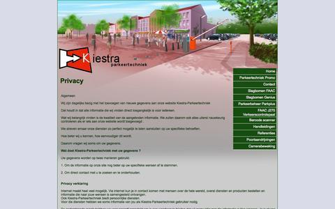 Screenshot of Privacy Page kiestra-parkeertechniek.nl - Privacy » Kiestra Parkeertechniek - captured Oct. 23, 2014