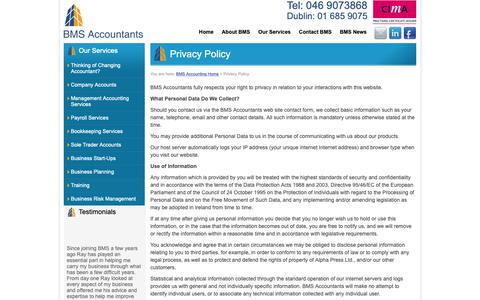 Screenshot of Privacy Page bmsaccountants.ie - BMS Accountants - Privacy Policy - Accounting, Bookkeeping Services, Management Accounting Services - captured Oct. 5, 2018