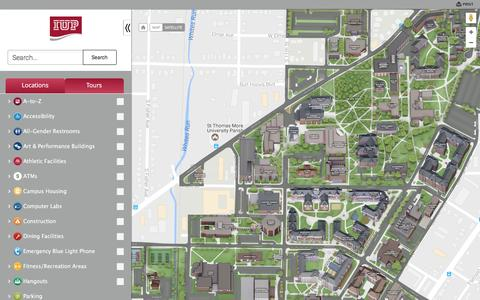 Screenshot of Maps & Directions Page iup.edu - Map of Indiana University of Pennsylvania - captured April 14, 2017
