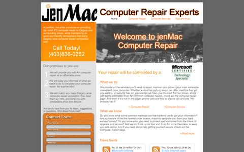 Screenshot of Home Page jenmac.ca - jenMac Calgary Computer Repair - Computer Repair in Calgary - captured Feb. 6, 2015