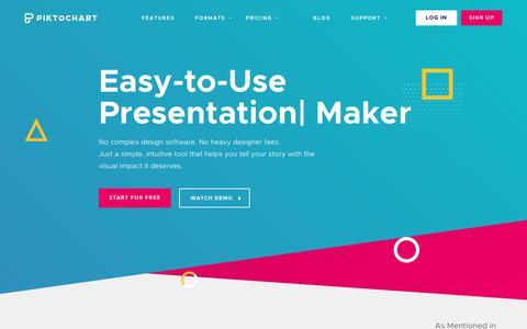 Screenshot of Home Page piktochart.com - Create Infographics, Presentations & Flyers | Piktochart - captured Jan. 29, 2018