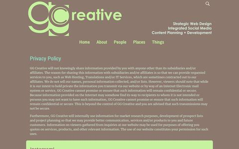 Screenshot of Privacy Page ggcreative.com - Privacy Policy – GG Creative - captured July 15, 2018