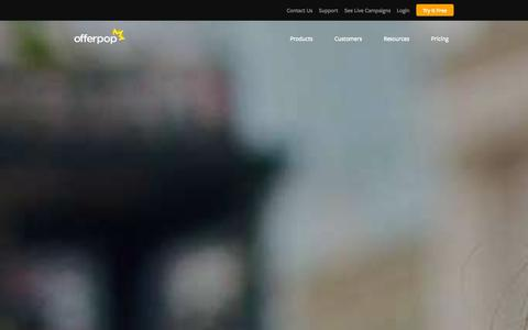 Screenshot of Home Page offerpop.com - Launch Powerful Social Marketing Campaigns In Minutes - captured Sept. 16, 2014