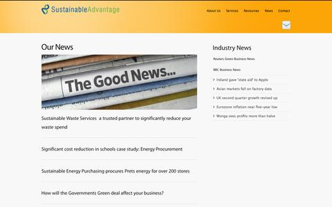Screenshot of Press Page sustainable-advantage.com - News | Sustainable Advantage - captured Sept. 30, 2014