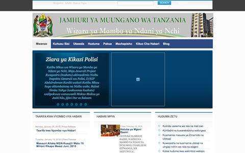 Screenshot of Home Page moha.go.tz - Ministry of Home Affairs | The United Republic of Tanzania - captured May 9, 2016