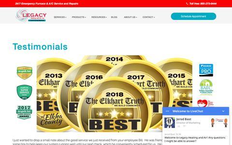 Screenshot of Testimonials Page legacyheatingandairinc.com - Testimonials | Legacy Heating and Air, Inc. - captured Nov. 4, 2018