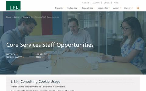 Core Services Staff Opportunities | L.E.K. Consulting