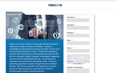 Screenshot of Contact Page veracode.com - Contact Us | Veracode - captured Sept. 15, 2019