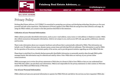 Screenshot of Privacy Page feinbergrea.com - Privacy Policy | Feinberg REA - Lehigh Valley Commercial  and Industrial Real Estate - captured Oct. 5, 2014