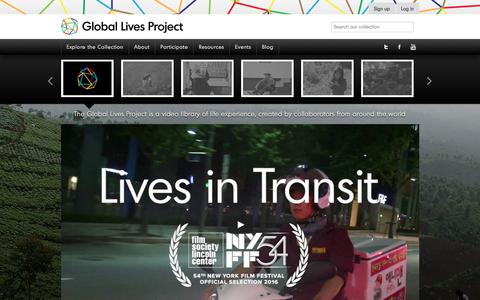Screenshot of Home Page globallives.org - Global Lives Project - A Video Library of Life ExperiencesGlobal Lives Project - captured Aug. 7, 2017