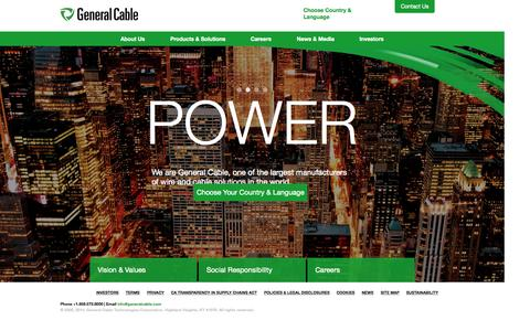 Screenshot of Home Page generalcable.com - Wire and Cable Solutions – General Cable® - captured Sept. 19, 2015