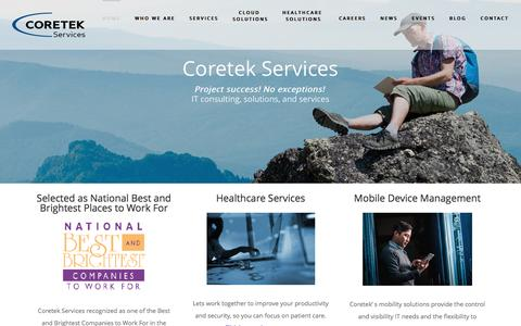 Screenshot of Home Page coretekservices.com - Home - Coretek Services - captured July 16, 2016