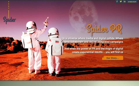 Screenshot of Home Page spider-pr.com - Guaranteed media coverage & Award Winning Campaigns | London | Spider PR Home - Guaranteed media coverage & Award Winning Campaigns | London | Spider PR - captured Sept. 30, 2014