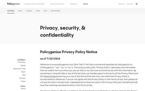 Privacy, security, & confidentiality | Policygenius