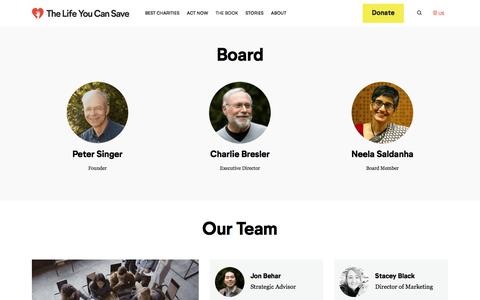 Screenshot of Team Page thelifeyoucansave.org - Our Team - The Life You Can Save - captured Dec. 4, 2019
