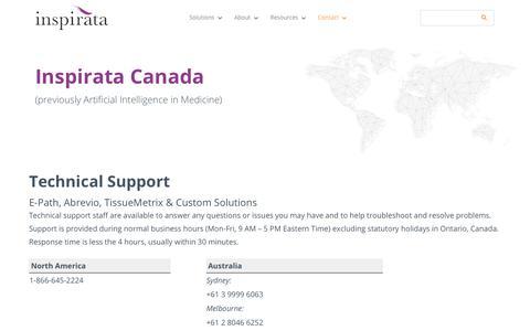 Screenshot of Support Page inspirata.com - Inspirata Canada Technical Support - Inspirata - captured June 18, 2019