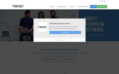 Screenshot of Home Page honeit.com - Honeit Interview Software - Share Interview Intelligence - captured July 21, 2018
