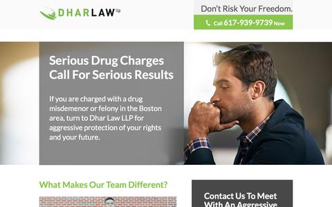 Screenshot of Landing Page dharlawllp.com - Drug Defense Landing Page | Dhar Law LLP | Boston, Massachusetts - captured Aug. 23, 2016