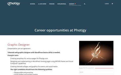 Screenshot of Jobs Page photigy.com - Career opportunities at Photigy - captured Sept. 20, 2018