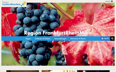 Screenshot of Home Page frankfurt-rhein-main.de - Willkommen in der Region Frankfurt Rhein-Main. - captured June 9, 2016