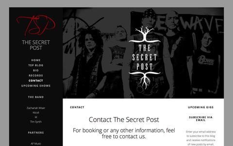Screenshot of Contact Page thesecretpost.net - Contact   Bookings - Press - Information - The Secret Post - captured Oct. 9, 2014
