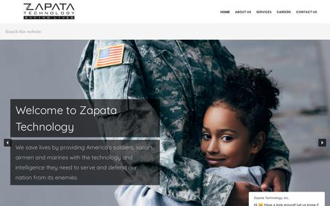 Screenshot of Home Page zapatatechnology.com - Zapata Technology | Saving Lives - 8(a), Veteran, and SDB IT Solution Provider - captured Jan. 10, 2020