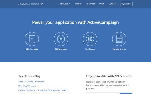 Screenshot of Developers Page activecampaign.com - Email Marketing API - captured Nov. 25, 2015