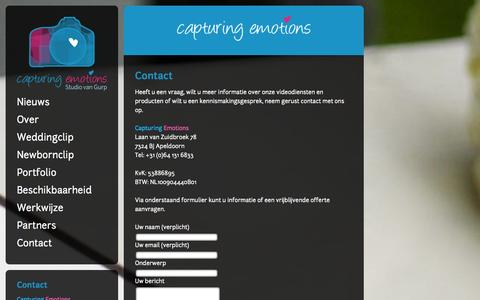 Screenshot of Contact Page capturingemotions.nl - Capturing Emotions  – Contact - captured Sept. 29, 2014