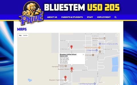 Screenshot of Maps & Directions Page usd205.com - Maps | Bluestem Unified School District 205 - captured Oct. 10, 2017