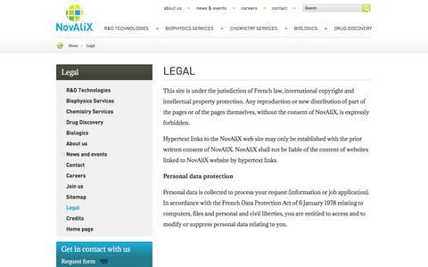 Screenshot of Terms Page novalix-pharma.com - Legal | NovAliX - captured Feb. 18, 2016