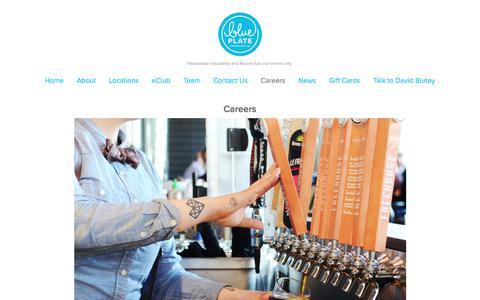 Screenshot of Jobs Page blueplaterestaurantco.com - Careers — Blue Plate Restaurant Company - captured April 24, 2018