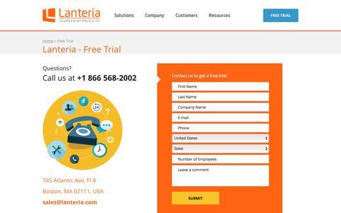 Screenshot of Trial Page lanteria.com - Lanteria > Free Trial - captured Jan. 26, 2016
