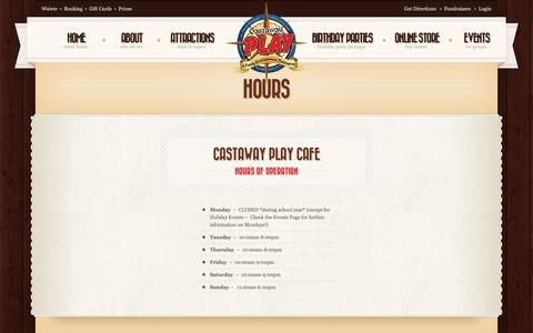 Screenshot of Hours Page castawayplay.com - Hours - Castaway Play Cafe - captured Sept. 27, 2018