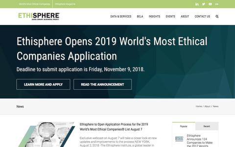 Screenshot of Press Page ethisphere.com - News – Ethisphere® Institute | Good. Smart. Business. Profit.® - captured Sept. 23, 2018