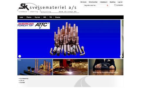 Screenshot of Home Page sk-svejs.dk - SK Svejsemateriel A/S - Sliddele til svejsning og skæring - captured Oct. 3, 2014
