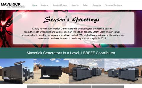 Screenshot of Home Page maverickgenerators.co.za - Maverick Generators | Generator Manufacturers | Commercial Generators - captured Dec. 8, 2018
