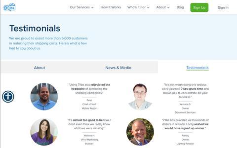 Screenshot of Testimonials Page 71lbs.com - Customers Testimonials | 71lbs Shipping Refunds | 71lbs - captured July 19, 2019