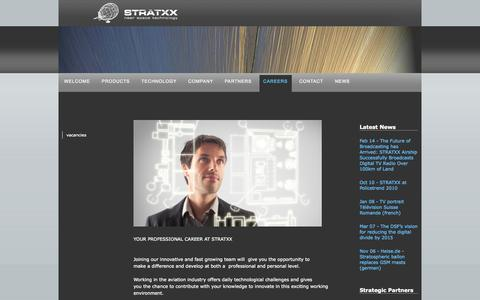 Screenshot of Jobs Page stratxx.com - work in the aircraft industry - airships and blimps - captured Oct. 3, 2014