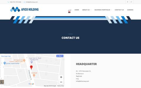 Screenshot of Contact Page Locations Page aficoiraq.com - AFICO HOLDING - captured Oct. 2, 2018