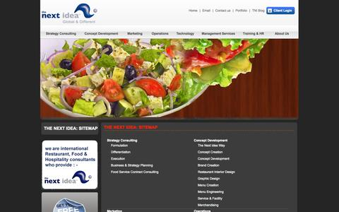 Screenshot of Site Map Page thenextidea.net - The Next Idea™ - Restaurant Consultants, Restaurant Consulting Firm - captured Sept. 24, 2014