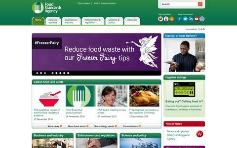 Screenshot of Home Page food.gov.uk - Food Standards Agency - Homepage - captured Nov. 25, 2016