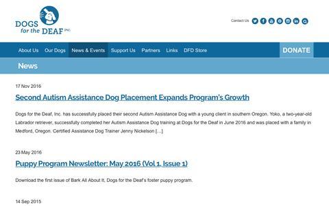 Screenshot of Press Page dogsforthedeaf.org - News - Dogs for the Deaf - captured Nov. 24, 2016