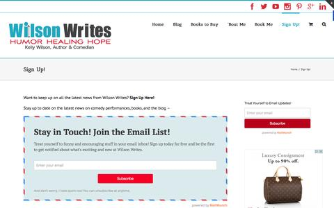 Screenshot of Signup Page wilsonwrites.com - Sign Up! | Wilson Writes - captured Jan. 20, 2016