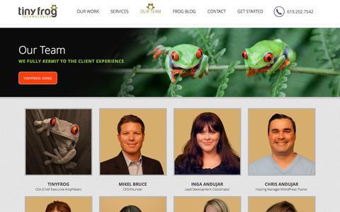 Screenshot of Team Page tinyfrog.com - Our Team - TinyFrog Technologies - captured Dec. 19, 2016