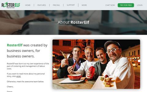 Screenshot of About Page rosterelf.com - About RosterElf - captured Sept. 21, 2018